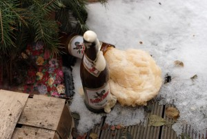 Supercooled bottles of beer after a catastrophic container failure.